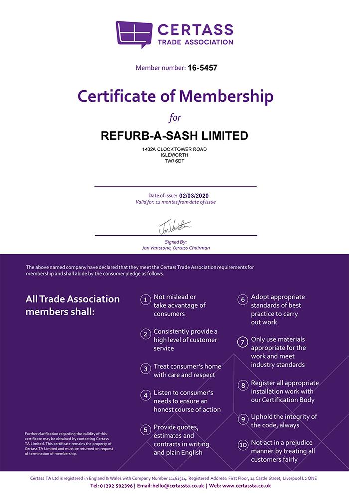 CERTASS Membership Certificate - Refurbasash